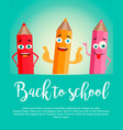 back to school background with realistic pencils vector image