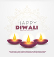 beautiful happy diwali greeting with burning diya vector image vector image