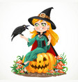 beautiful witch sitting on a pumpkin and talks vector image vector image