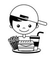 boy with burger soda and french fries vector image vector image