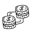 business coin hand drawn icon design outline vector image