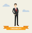business man standing with credibility banner vector image