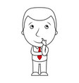 businessman line cartoon face thinking expression vector image vector image