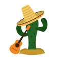 cactus and mexican hat with guitar vector image
