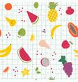 cartoon organic fruits hand draw seamless pattern vector image vector image