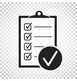 checklist icon survey in flat design on isolated vector image vector image