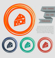 cheese icon on red blue green orange buttons vector image vector image