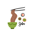 chopsticks and noodle chinese japanese asian vector image vector image