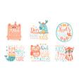 collection kids logo original design templates vector image vector image