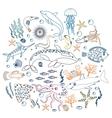 concept set cute sea animals fish color vector image vector image