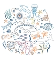 Concept Set of Cute Sea animals fish Color vector image vector image