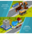 Construction Isometric Horizontal Banners vector image vector image