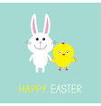 Cute bunny rabbit and chicken Happy Easter Round vector image vector image