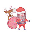 cute christmas santa claus with bag and deer vector image