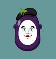 eggplant mime avatar purple vegetable pantomime vector image