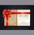 gift card paper certificate with red ribbon bow vector image vector image