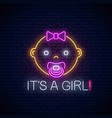 glowing neon sign of baby girl birth celebration vector image