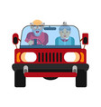grandparents driving on jeep car isolated on white vector image