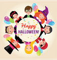 group of happy children in a festive halloween vector image vector image