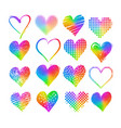grunge rainbow colored hearts vector image