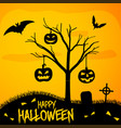 happy halloween poster - graveyard with punpkins vector image vector image