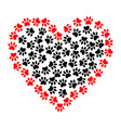 heart shaped frame made of animal paw prints vector image vector image