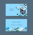 isometric electronic devices business card vector image vector image