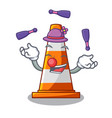 juggling on traffic cone against mascot argaet vector image vector image