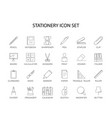 line icons set stationery pack vector image vector image
