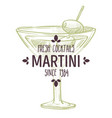 martini cocktail with olives alcoholic beverage vector image vector image