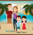 parents with children on the beach vector image
