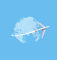 plane flying over world map vector image vector image