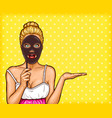 pop art blond woman holding a mask in her hand vector image