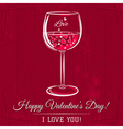 red valentine card with glass of wine vector image vector image