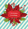 Retro Christmas greeting card with flower