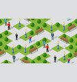 seamless urban plan park pattern map isometric 3d vector image vector image