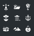 set sea port icons vector image vector image