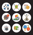 Set sport icons in flat design line