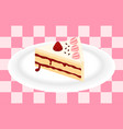 strawberry cake on plate vector image