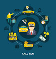 taxi pool round composition vector image vector image