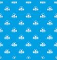 tent camp emblem pattern seamless blue vector image