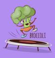 trampoline jumping broccoli sport vector image vector image