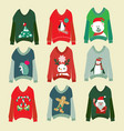 ugly christmas sweaters set sweater party vector image vector image