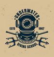 underwater diving school vintage emblem vector image vector image