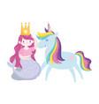 unicorn and mermaid with crown princess magic vector image vector image