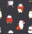 watercolor christmas baby penguin pattern vector image
