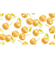 white yellow cherry seamless pattern vector image