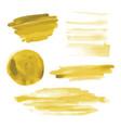 yellow gold watercolor shapes circle brush strokes vector image vector image