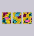 yellow snake skin textured brochure templates set vector image