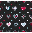 bright hand drawn doodle hearts St Valentine Day vector image